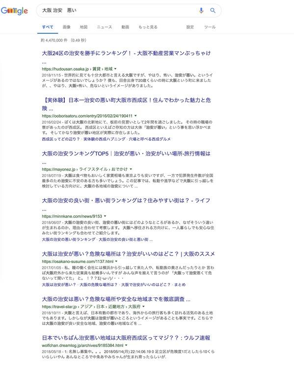ユーザーの検索意図を読み取るための『大阪 治安 悪い』と検索した結果