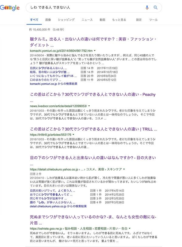 ユーザーの検索意図を読み取るための『しわ できる人 できない人』と検索した結果